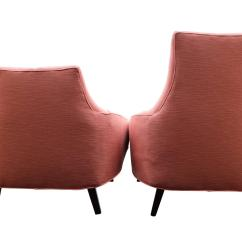 Modern Art Chair Covers And Linens Outdoor Recliner Target Pair Of Mid Century Pink Linen Walnut Gondola