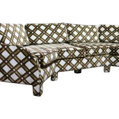 3 Sided Sectional Sofa Down Wrapped Cushion Sofas Brown And White Geometric Lattice 1970s Angled Three
