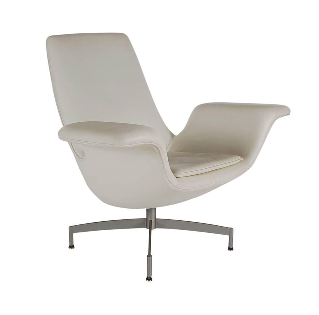 modern white leather club chair king backyard store mid century dialogue hbf swivel lounge in