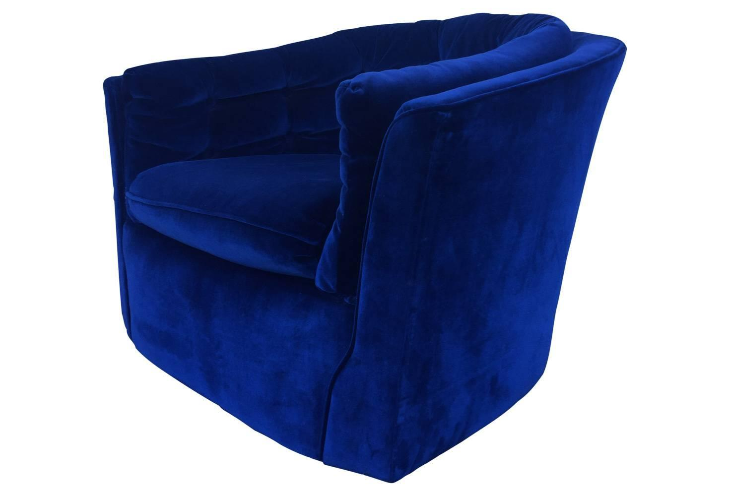 royal blue velvet chairs lightweight chair in a bag mid century modern swivel for sale