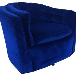 Royal Blue Velvet Chairs Remote Control Holder For Chair Arm Mid Century Modern Swivel Sale