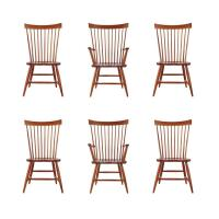 Set of Six Mid-Century Modern Windsor Tall Spindle Back ...