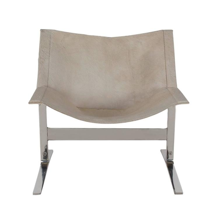 white leather slipper chair gray with ottoman mid-century italian modern chrome and pony skin lounge for sale at 1stdibs