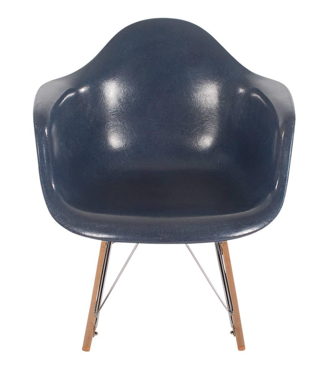 Navy Rocking Chair Mid Century Eames For Herman Miller Fiberglass Rocking