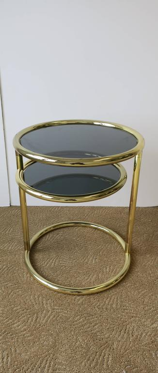 Vintage Modern Swivel Brass and Glass Side Table After