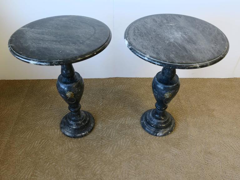 Pair Italian Neoclassical Black And White Marble Round