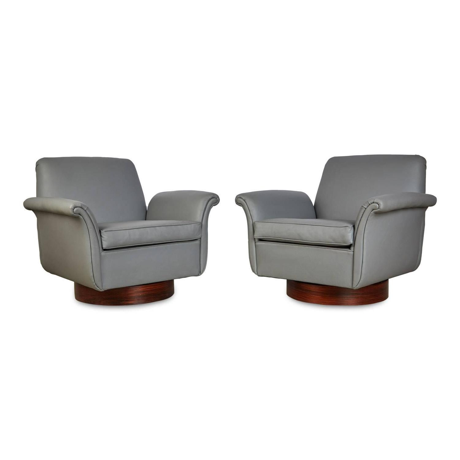 grey modern armchairs eames chair accessories pair of brazilian leather and rosewood swivel