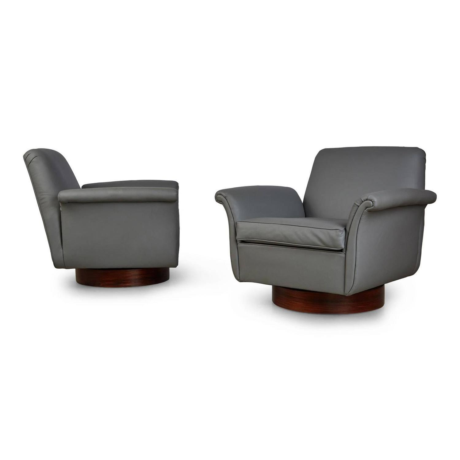 grey modern armchairs folding chaise lounge chair plastic pair of brazilian leather and rosewood swivel