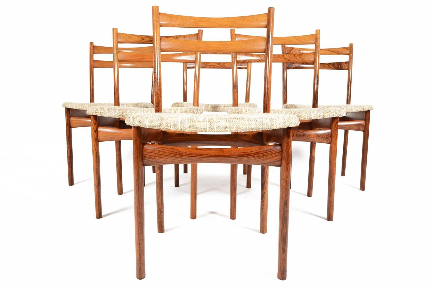 skovby rosewood dining chairs upholstered office chair on casters set of six møbelfabrik for