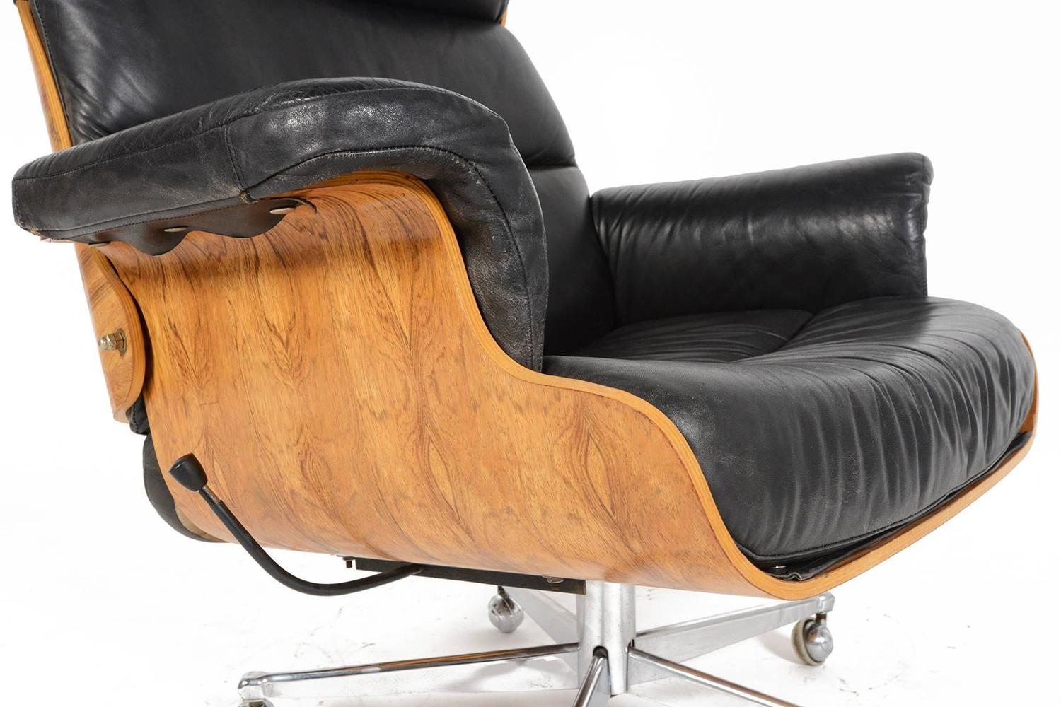 swivel club chair with ottoman antique wooden high martin stoll rosewood and leather