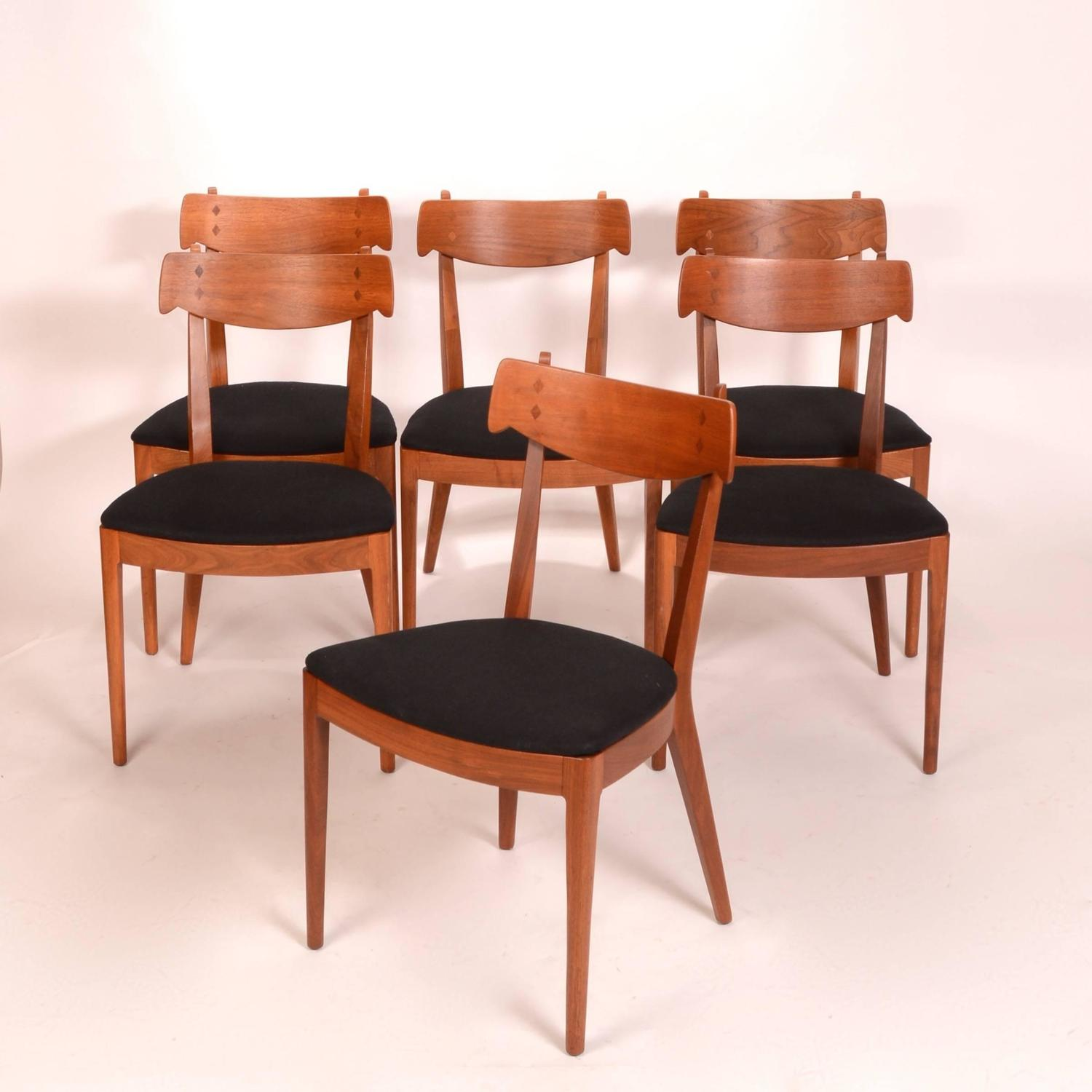 Drexel Chairs Set Of Six Kipp Stewart For Drexel Walnut 39declaration