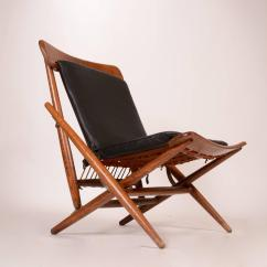 Folding Chair Leather White Covers With Gold Bows Danish Teak And Side For Sale At 1stdibs