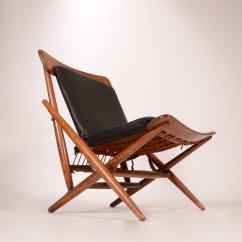 Folding Chair Leather Inflatable Danish Teak And Side For Sale At 1stdibs