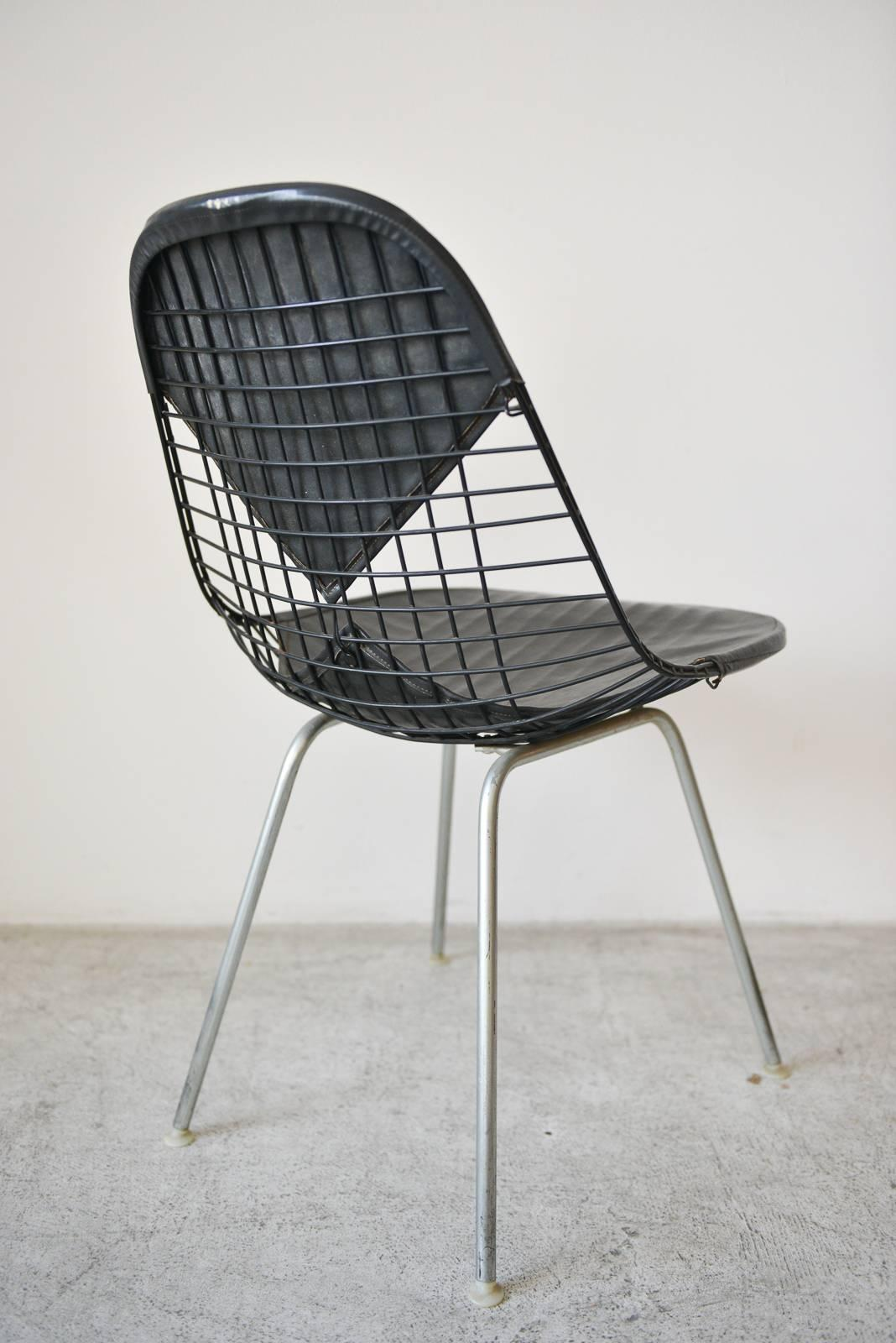 Eames Wire Chair Eames Dkx 2 Vintage Wire Chair With Leather Bikini Cover