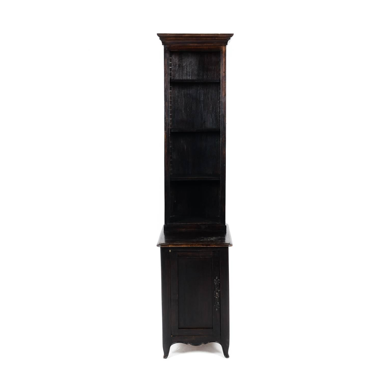 Antique French Unusually Narrow Dark Oak Bookcase Circa