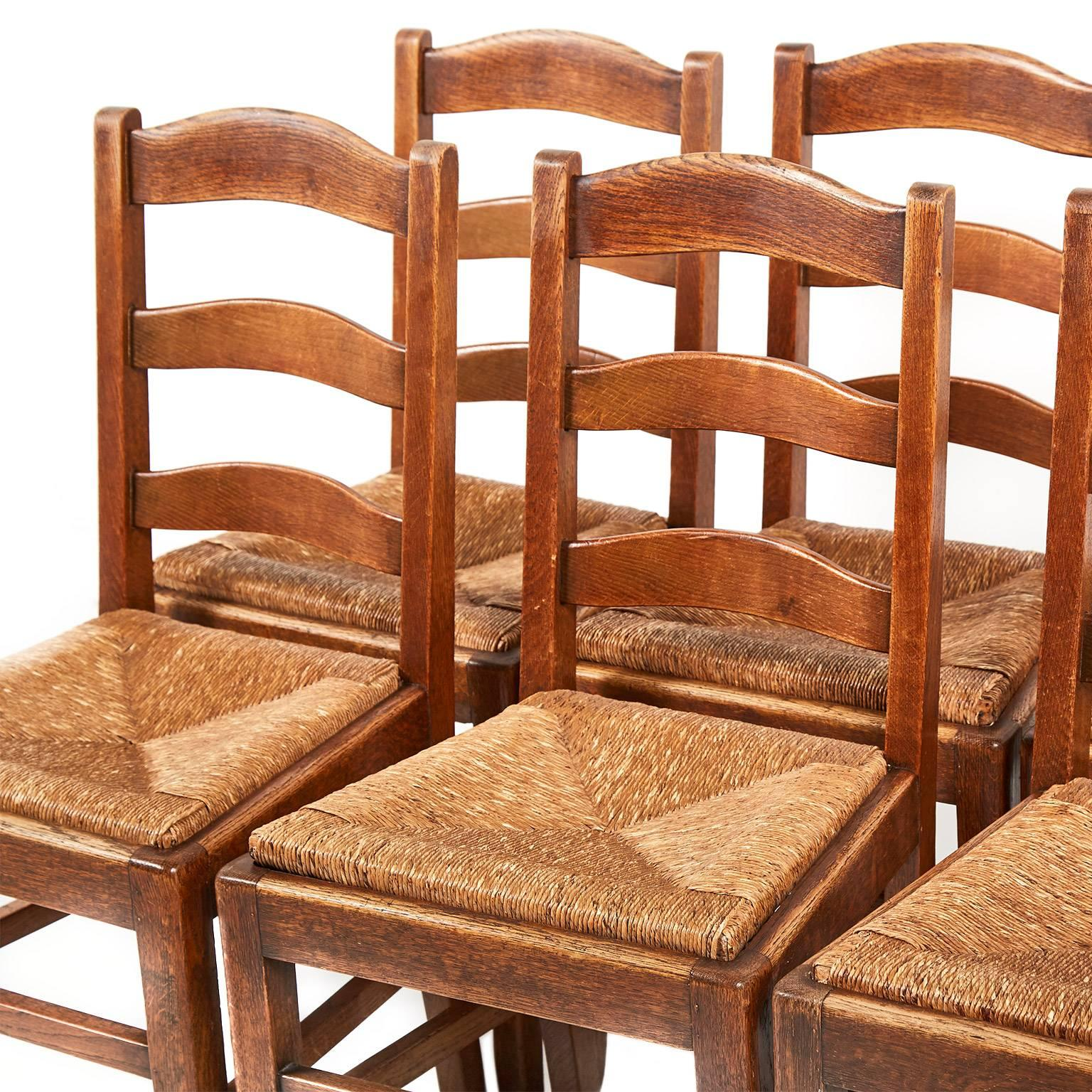 antique ladder back chairs with rush seats best home office chair country french solid oak dining at 1stdibs