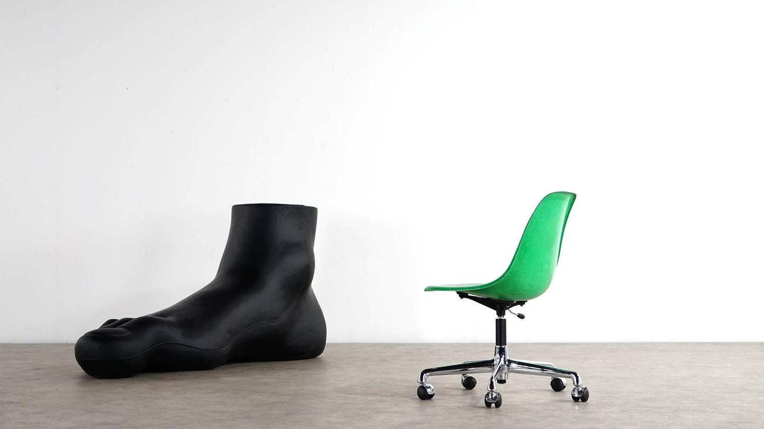 office side chair charcoal gray covers charles eames original swivel and green shell herman miller at 1stdibs