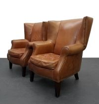 Pair of Oversized Vintage Leather Wingback Chairs For Sale ...