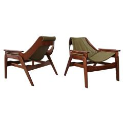 Leather Sling Chairs Recliner Chair Spring Replacements Jerry Johnson At 1stdibs Pair Of Midcentury And Walnut By