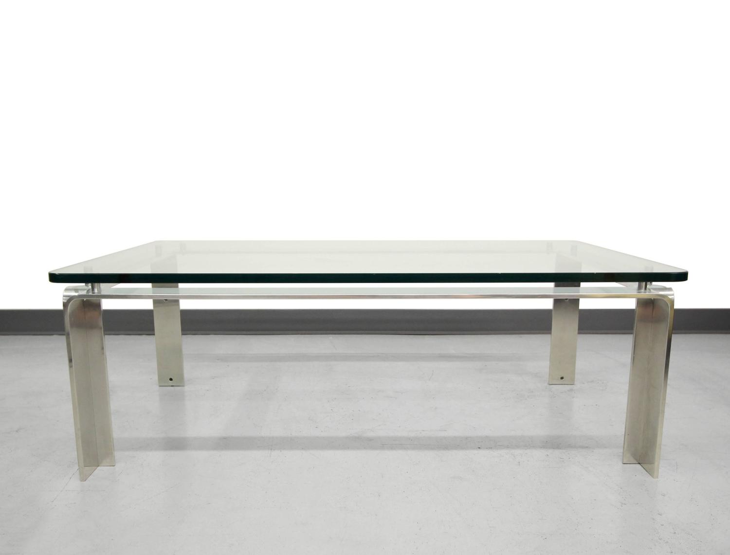 Midcentury Bent Aluminum And Floating Glass Coffee Table