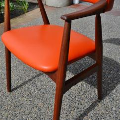 Orange Leather Chairs Rattan Wing Back Kai Kristiansen Curved Desk Or Side