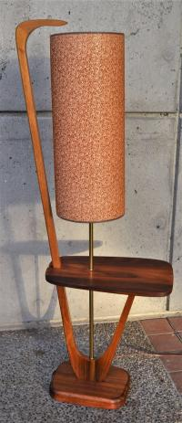 Mid-Century Modern Solid Walnut Floor Lamp w/ Table For ...