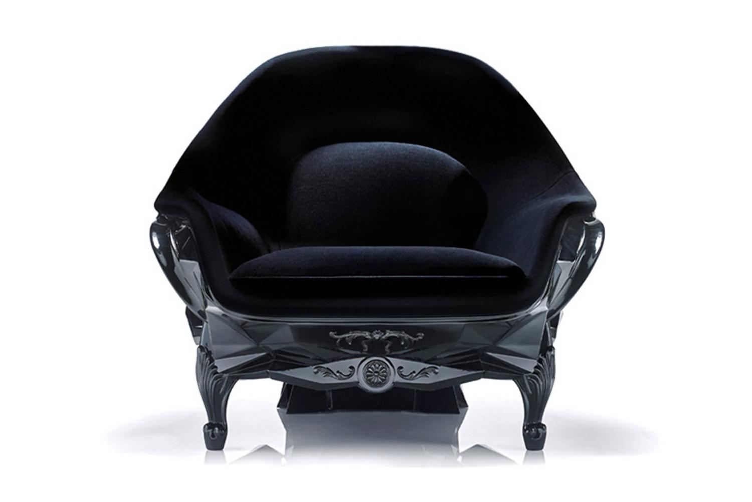 black skull chair revolving for study table armchair faceted handcrafted with velvet seat