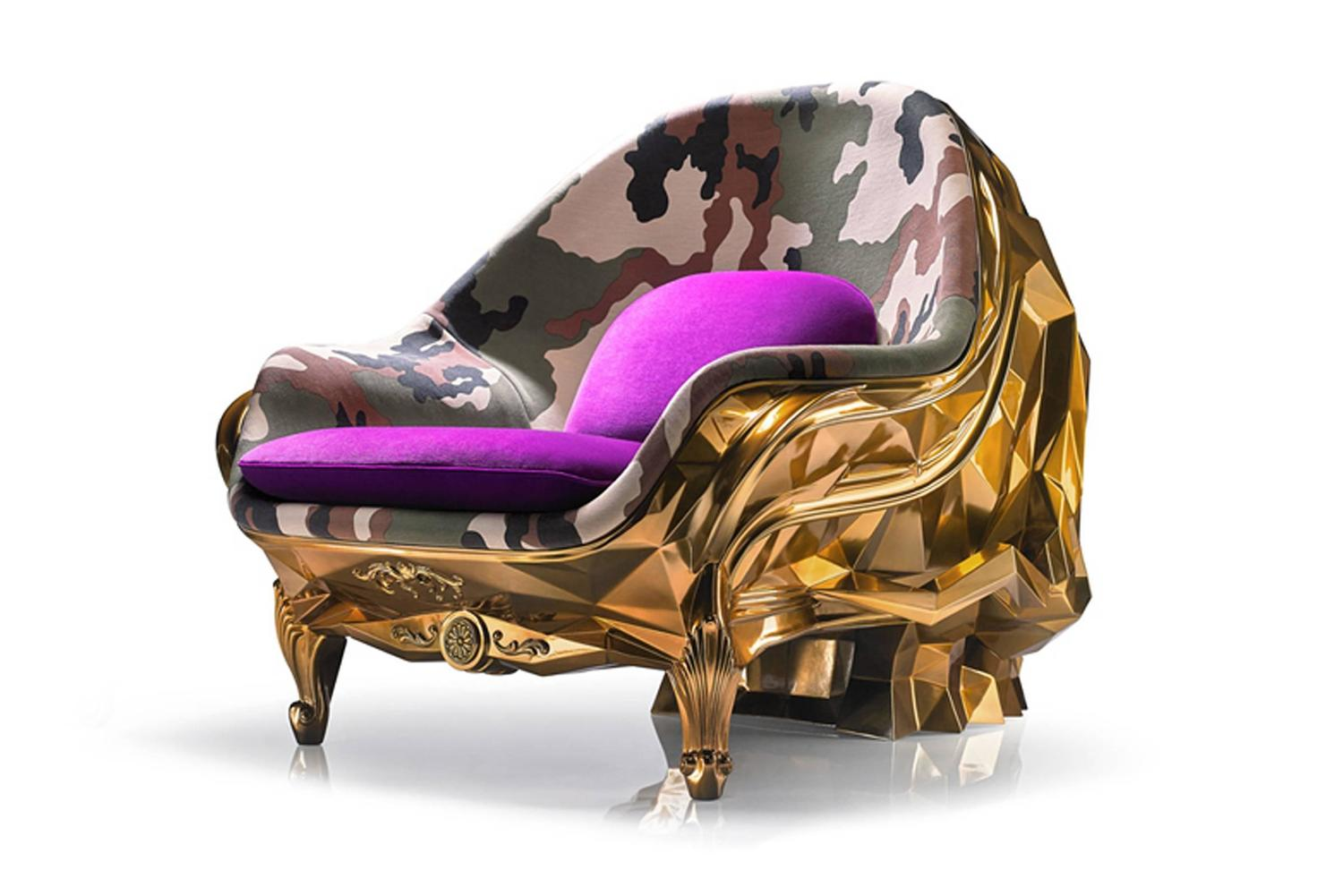 black skull chair lazy boy sale armchair faceted handcrafted with velvet seat