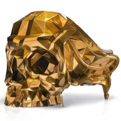 Black Skull Chair Dolphin Massage Armchair Faceted Handcrafted With Velvet Seat