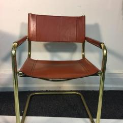 Mart Stam Chair Fancy Covers Stunning Set Of Six Leather And Brass Tubular Chairs By