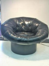 Mod Glossy Black Leatherette and Fiberglass Pouf Chair in