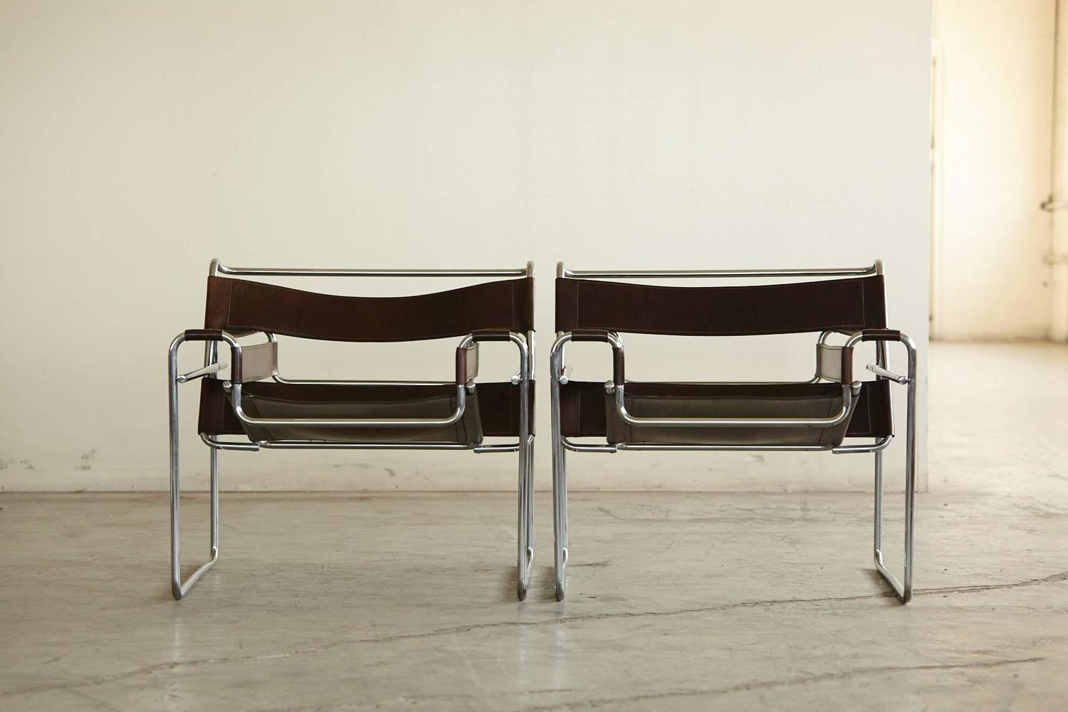 wassily chair brown leather two seater folding lawn pair of vintage marcel breuer 39wassily 39 chairs in cognac