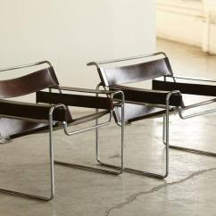 Wassily Chair Brown Leather Swing In Karachi Pair Of Vintage Marcel Breuer Chairs Cognac Italian