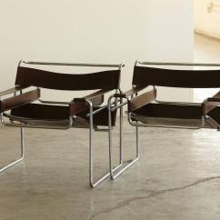 Wassily Chair Brown Leather Round Lounge Outdoor Pair Of Vintage Marcel Breuer 39wassily 39 Chairs In Cognac
