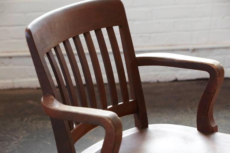 wh gunlocke chair accent blue 1920s solid oak office armchair by w.h. co at 1stdibs