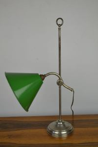 Vintage Brass Desk Lamp with Green Enamel Shade, 1920s at