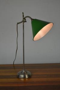 Vintage Brass Desk Lamp with Green Enamel Shade, 1920s at ...