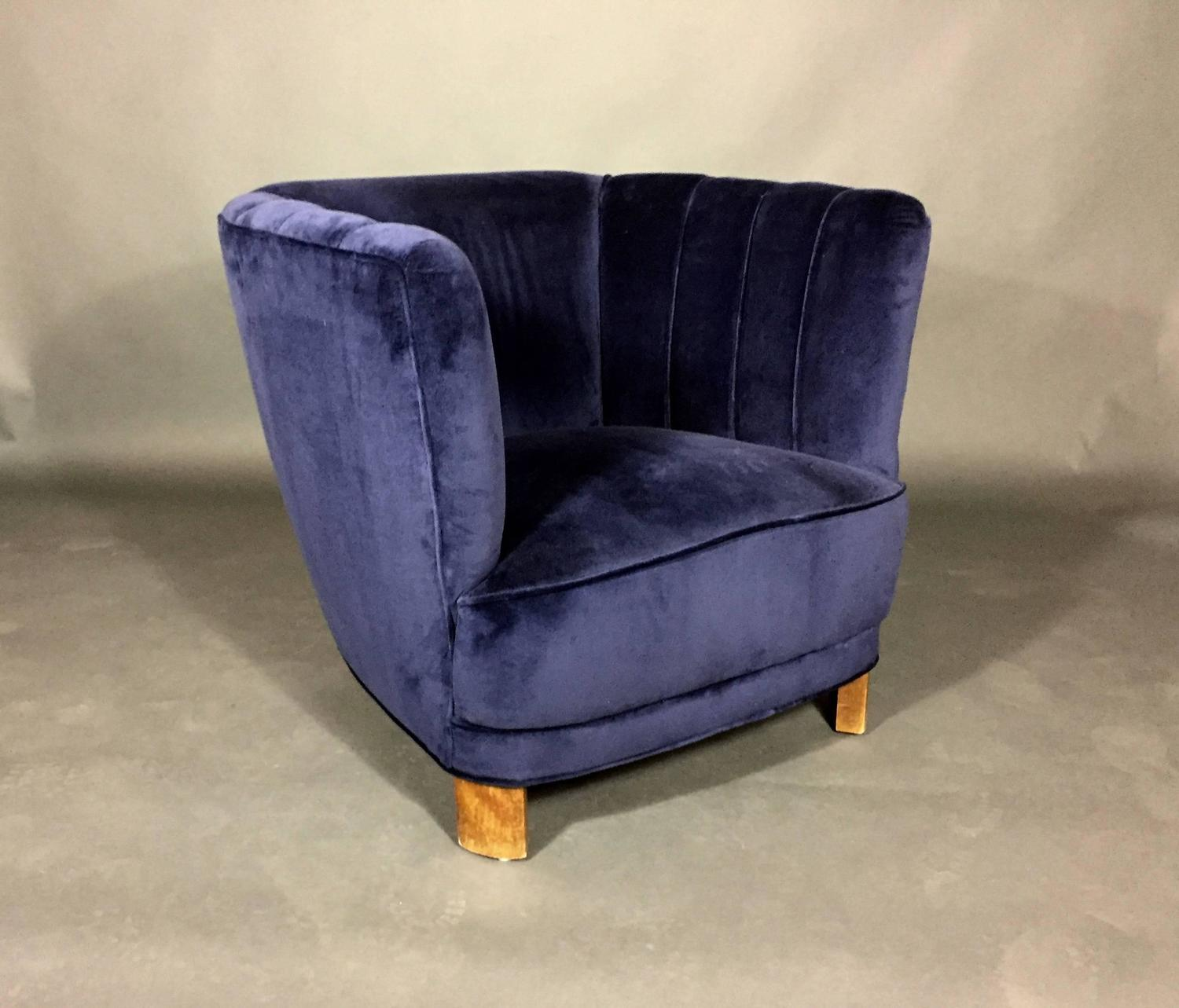 Navy Club Chair Curved Arm Club Chair In New Navy Velvet Denmark 1940