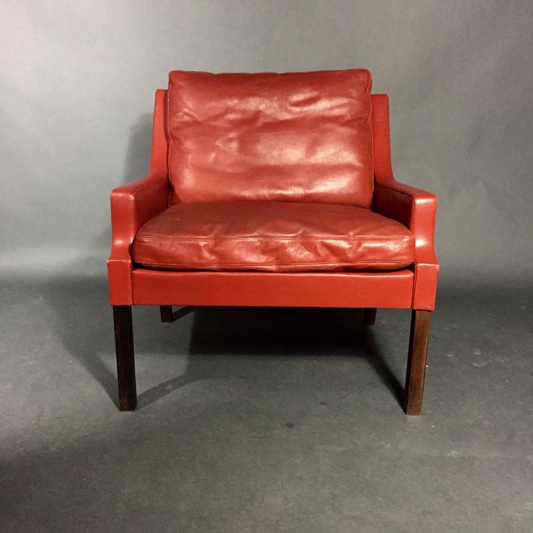 chestnut colored leather sofa faux suede durability georg thams red and rosewood lounge chair, denmark ...