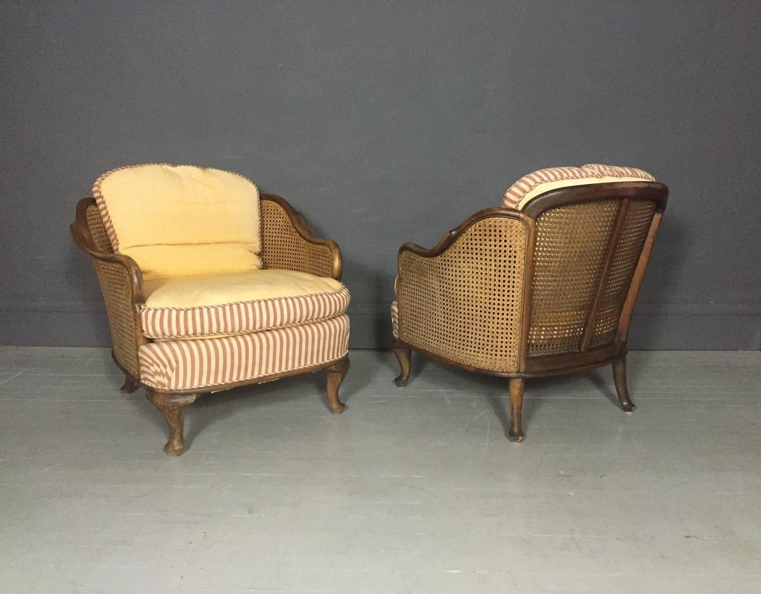 1930 cane back sofa seat foam in delhi pair of bergere tub chairs walnut and sweden 1930s