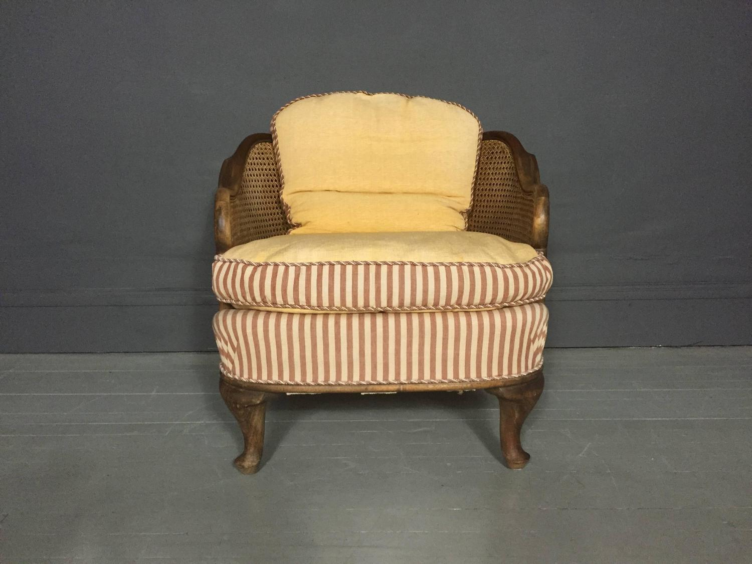 1930 cane back sofa slim double bed pair of bergere tub chairs walnut and sweden 1930s