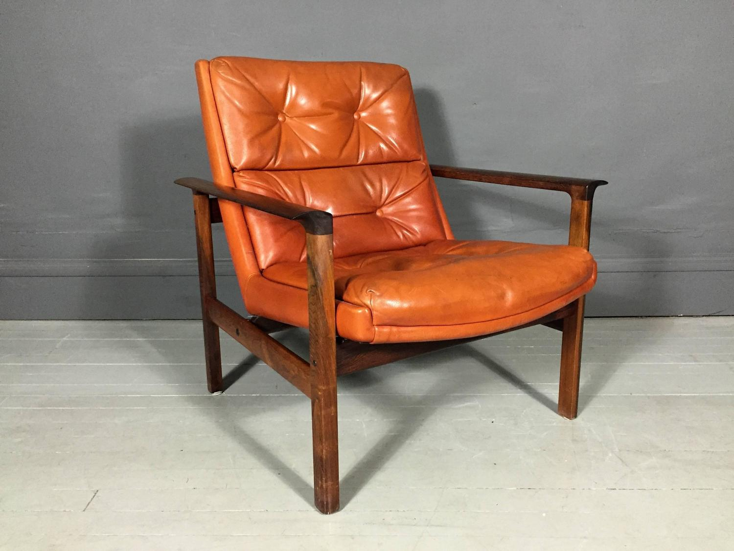 Orange Leather Chair Rosewood And Orange Leather Lounge Chair Fredrik Kayser