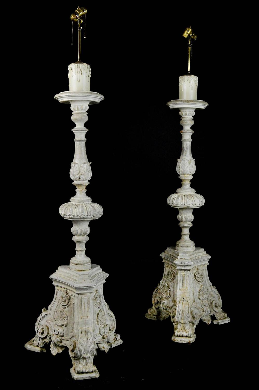 Pair of Carved Wood Neoclassical Style Floor Lamps at 1stdibs
