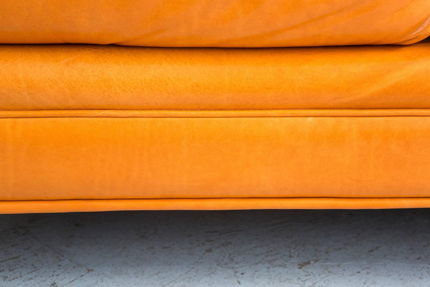 tangerine sofa 3 plus 2 seater offers milo baughman chinoiserie armless in orange