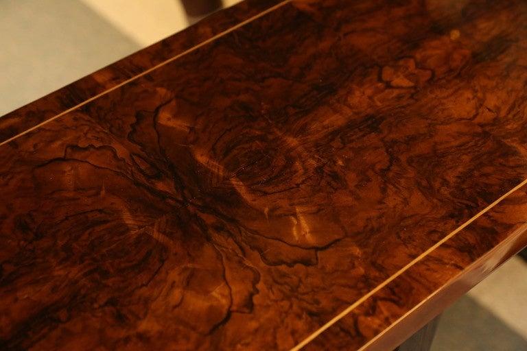 Burl Walnut Veneer Console Table At 1stdibs