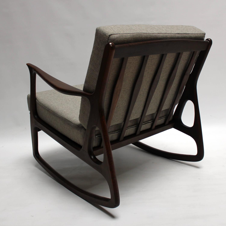 mid century rocker chair and ottoman slipcover set modern italian upholstered walnut rocking
