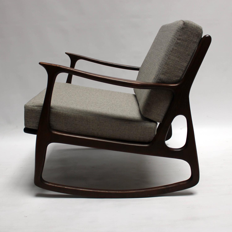 midcentury rocking chair bar stool rung protectors mid century modern italian upholstered walnut