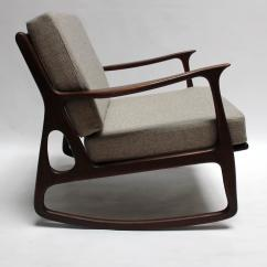 Mid Century Modern Rocking Chair Outdoor Folding Table And Chairs Italian Upholstered Walnut