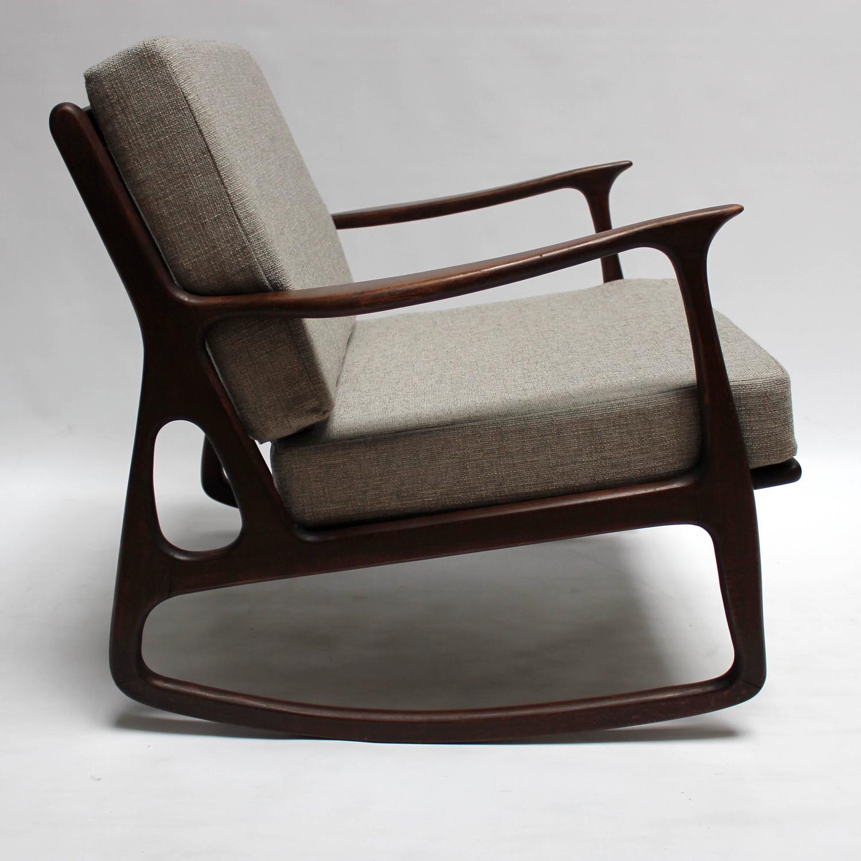 mid century rocker chair slip cover and ottoman modern italian upholstered walnut rocking