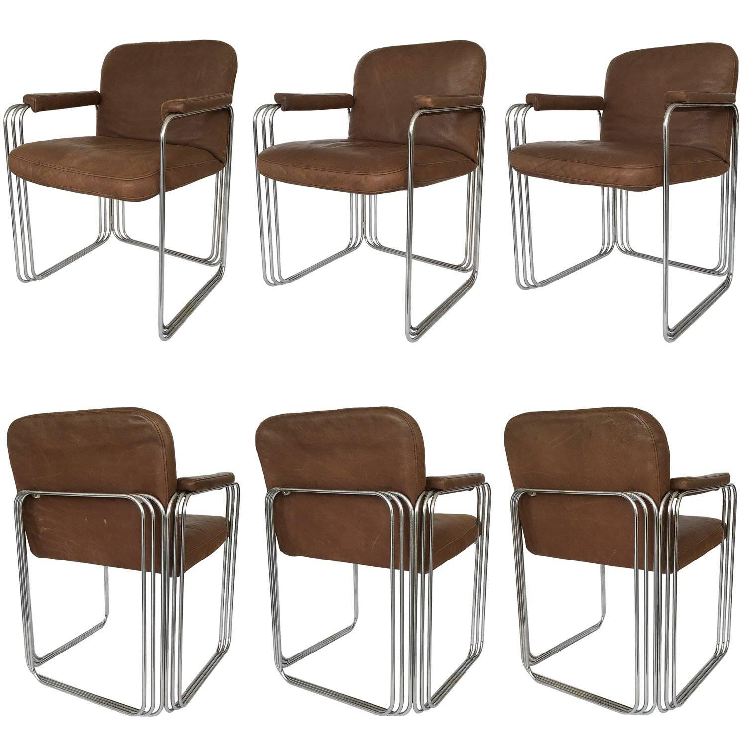 metal frame leather dining chair wire chairs for sale set of six chrome and attributed to pace collection